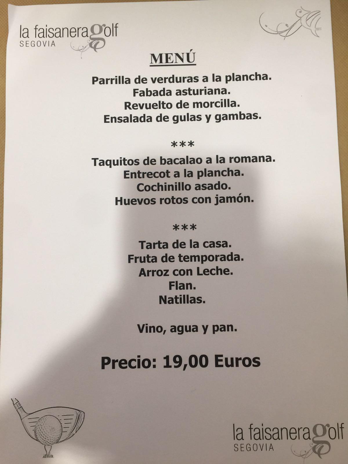 Menú La Faisanera